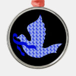 Dove of Hope Blue Ribbon - Colon Cancer Round Metal Christmas Ornament