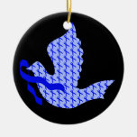 Dove of Hope Blue Ribbon - Colon Cancer Double-Sided Ceramic Round Christmas Ornament