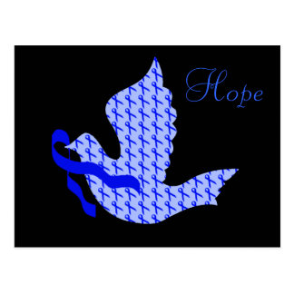 Dove of Hope Blue Ribbon - Colon Cancer Postcard