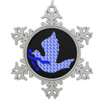 Dove of Hope Blue Ribbon - Colon Cancer Snowflake Pewter Christmas Ornament