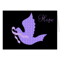 Dove of Hope - General Cancer Lavender Ribbon Card