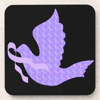 Dove of Hope - General Cancer Lavender Ribbon Drink Coaster