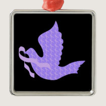 Dove of Hope - General Cancer Lavender Ribbon Metal Ornament