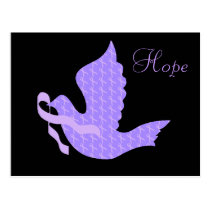 Dove of Hope - General Cancer Lavender Ribbon Postcard