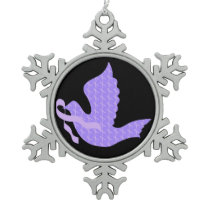 Dove of Hope - General Cancer Lavender Ribbon Snowflake Pewter Christmas Ornament