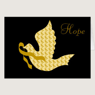 Dove of Hope Gold Ribbon - Childhood Cancer Card