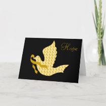 Dove of Hope Gold Ribbon - Childhood Cancer Holiday Card
