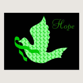 Dove of Hope Green Ribbon - Kidney Cancer Postcard