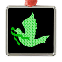 Dove of Hope Green Ribbon - Liver Cancer Metal Ornament