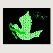 Dove of Hope Green Ribbon - Liver Cancer Postcard