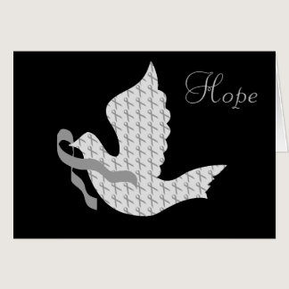 Dove of Hope Grey Ribbon Brain Cancer Tumor Card