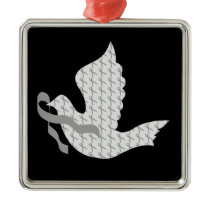 Dove of Hope Grey Ribbon Brain Cancer Tumor Metal Ornament