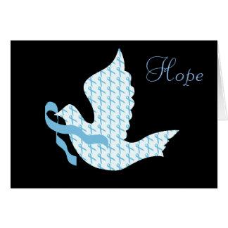 Dove of Hope Light Blue Ribbon - Prostate Cancer Card