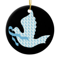 Dove of Hope Light Blue Ribbon - Prostate Cancer Ceramic Ornament