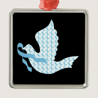 Dove of Hope Light Blue Ribbon - Prostate Cancer Metal Ornament