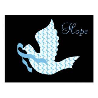 Dove of Hope Light Blue Ribbon - Prostate Cancer Postcard