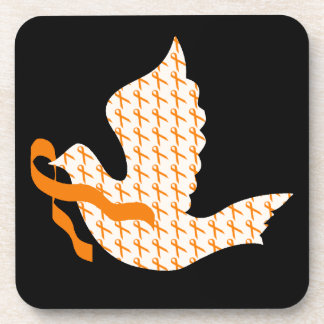 Dove of Hope Orange Ribbon - Leukemia Coaster