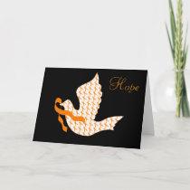Dove of Hope Orange Ribbon - Leukemia Holiday Card
