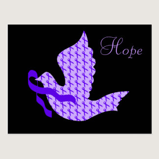 Dove of Hope Purple Ribbon - Alzheimer's Disease Postcard