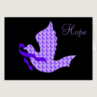 Dove of Hope Purple Ribbon - Crohn's & Colitis Card