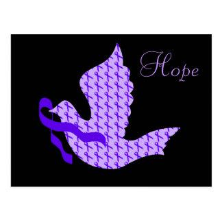 Dove of Hope Purple Ribbon - Crohn's & Colitis Postcard