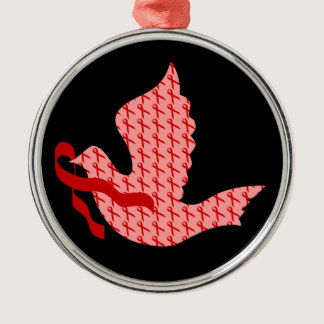Dove of Hope Red Ribbon - AIDS & HIV Metal Ornament