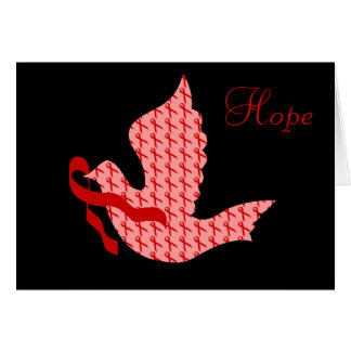 Dove of Hope Red Ribbon - Heart & Stroke Card
