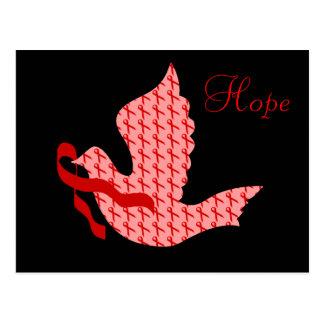 Dove of Hope Red Ribbon - Heart & Stroke Postcard