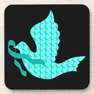 Dove of Hope Teal Ribbon - Cervical Cancer Beverage Coaster
