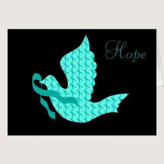 Dove of Hope - Teal Ribbon (Cervical Cancer) Card