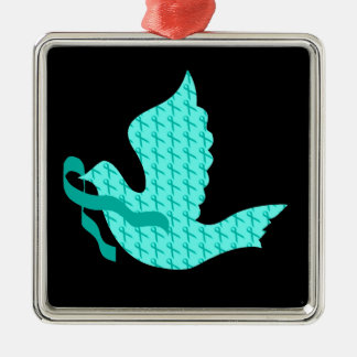 Dove of Hope - Teal Ribbon (Cervical Cancer) Square Metal Christmas Ornament