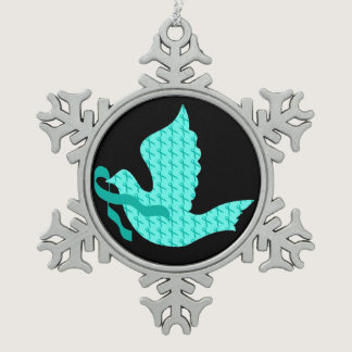 Dove of Hope Teal Ribbon - Cervical Cancer Snowflake Pewter Christmas Ornament