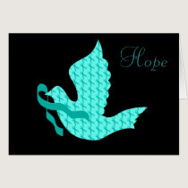 Dove of Hope Teal Ribbon - Ovarian Cancer Card