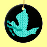 Dove of Hope Teal Ribbon - Ovarian Cancer Ceramic Ornament