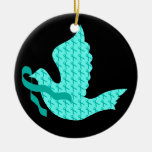 Dove of Hope Teal Ribbon - Ovarian Cancer Double-Sided Ceramic Round Christmas Ornament