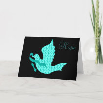Dove of Hope Teal Ribbon - Ovarian Cancer Holiday Card