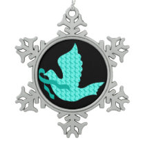 Dove of Hope Teal Ribbon - Ovarian Cancer Snowflake Pewter Christmas Ornament