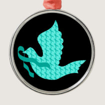 Dove of Hope - Uterine Cancer Teal Ribbon Metal Ornament