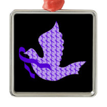 Dove of Hope Violet Ribbon - Hodgkin's Lymphoma Metal Ornament
