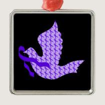 Dove of Hope Violet Ribbon - Hodgkin's Lymphoma Metal Ornament