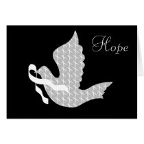 Dove of Hope White Ribbon - Lung Cancer Card