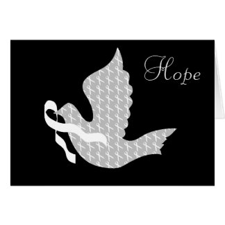 Dove of Hope White Ribbon - Lung Cancer Greeting Card
