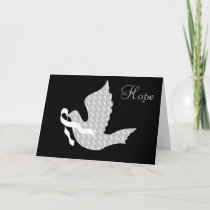 Dove of Hope White Ribbon - Lung Cancer Holiday Card