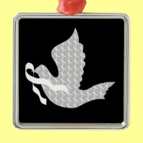 Dove of Hope White Ribbon - Lung Cancer Metal Ornament