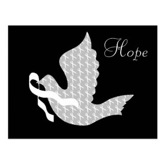 Dove of Hope White Ribbon - Lung Cancer Postcard