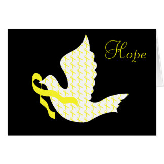 Dove of Hope Yellow Ribbon - Testicular Cancer Card