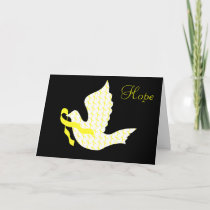 Dove of Hope Yellow Ribbon - Testicular Cancer Holiday Card