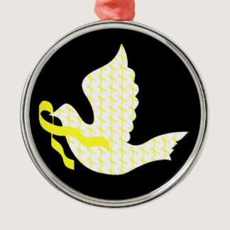 Dove of Hope Yellow Ribbon - Testicular Cancer Metal Ornament