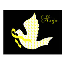 Dove of Hope Yellow Ribbon - Testicular Cancer Postcard