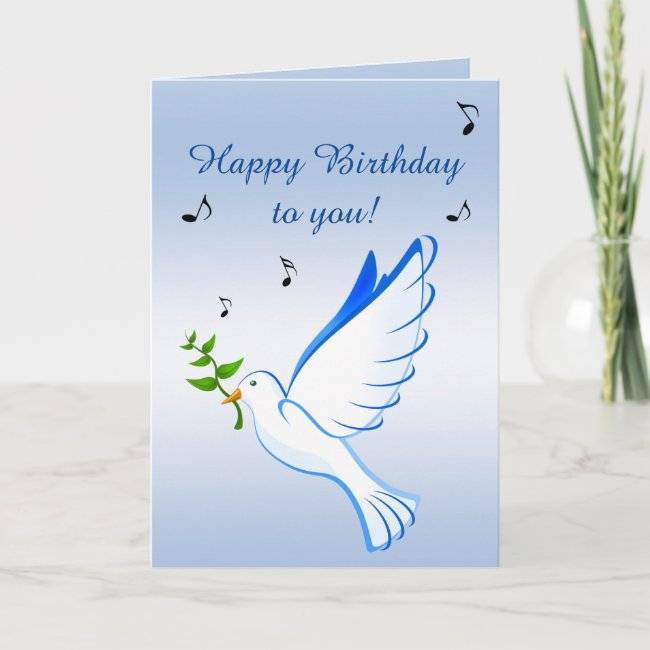 Dove of Peace Blue Birthday Card